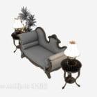 Juego de taburete de sofá europeo apoyabrazos