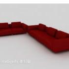 बड़ा फर्नीचर लाल कपड़ा सोफा सेट