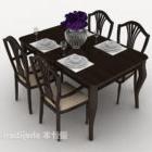 黒いヨーロッパのテーブルと椅子