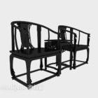 Muebles de sillón negro para reposabrazos