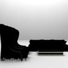 Svart hög-rygg redigering soffa kombination möbler