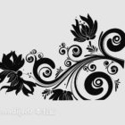 Black Home Wall Paint Floral Pattern