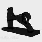 زخرفة تمثال أسود مجردة