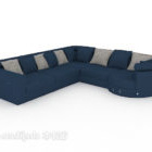 أريكة زرقاء متعددة المقاعد