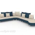 أريكة بيضاء متعددة الألوان بلونين أزرق