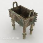 Starożytna brązowa urna prostokątna