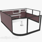 Brown Office Desk With Divider Wall