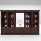 Rak Buku Kayu Coklat Dengan Hiasan Buku