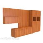 خزانة تلفزيون الخشب الصلب الكل في واحد البني