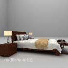 سرير خشب بني مع منضدة