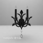 Świecznik Kinkiet Czarny Metalowe Meble