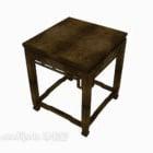 Chiński brązowy kwadratowy stół z litego drewna