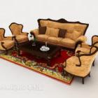 Chińska retro żółta kombinowana sofa V1