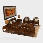 Sofa z litego drewna w stylu chińskim V1