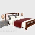 سرير خشبي صيني مع مصباح طاولة منضدة