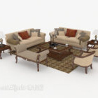 Sofa łączona z chińskim drewnem i brązem