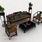 Zestaw chiński drewniana sofa