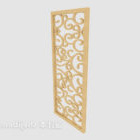 Chińska żółta ścianka działowa z litego drewna
