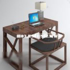 Work Desk Table And Chairs With Laptop