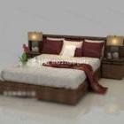 سرير مزدوج مع منضدة