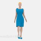 青いドレスの女性キャラクター