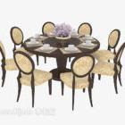 Åtta-personars rund matbordstol