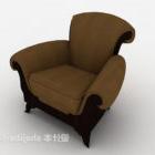Chaise de maison européenne en cuir marron