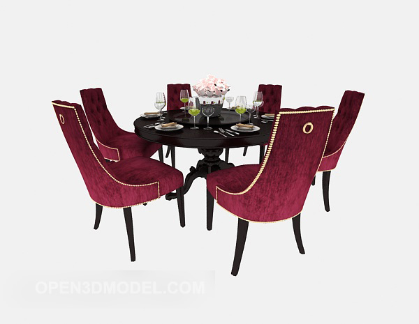 European Retro Dining Table Chair Free 3d Model Max Open3dmodel 525853