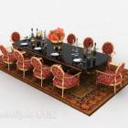 Ensemble de meubles de chaise de table vintage européen