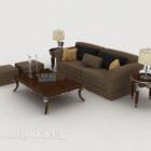 European Gray-brown Combination Sofa