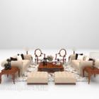 European Light-colored Sofa Large Full Sets