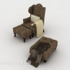 Europamønstret brun enkel sofa