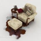 Europæiske retro mønstrede brun enkelt sofa