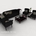 Europejska prosta sofa z czarnego drewna
