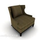 European Simple Gray-brown Single Sofa