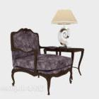 European Solid Wood Armrest Sofa