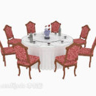 European Style Exquisite Dining Table Chair