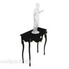 طاولة جانبية بتصميم أوروبي مع تمثال