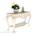 طاولة جانبية بيضاء أوروبية بسيطة