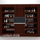 European Brown Wine Cabinet Furniture