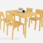 Keltainen puinen ruokapöytä