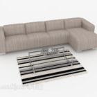 Gray-brown Minimalist Multiplayer Sofa
