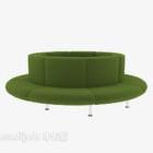 أريكة خضراء متعددة المقاعد مستديرة