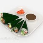 طبق طعام أخضر