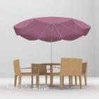 طاولة وكراسي رمادية مع مظلة