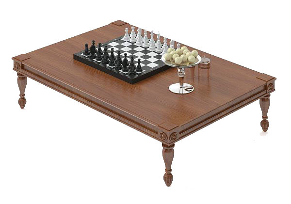Grey Wooden Chess Coffee Table