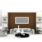 Kerusi Sofa Rumah Dengan Dinding Belakang