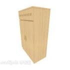 خزانة جانبية من الخشب الصلب باللون الأصفر