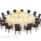 طاولة كبيرة مستديرة متعددة المقاعد