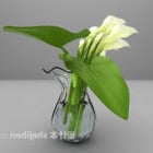 Lily Flower In Glass Vase
